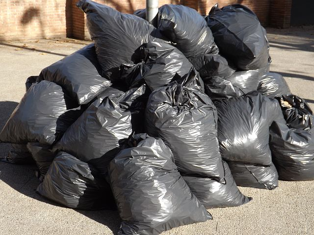 garbage bags full of trashes