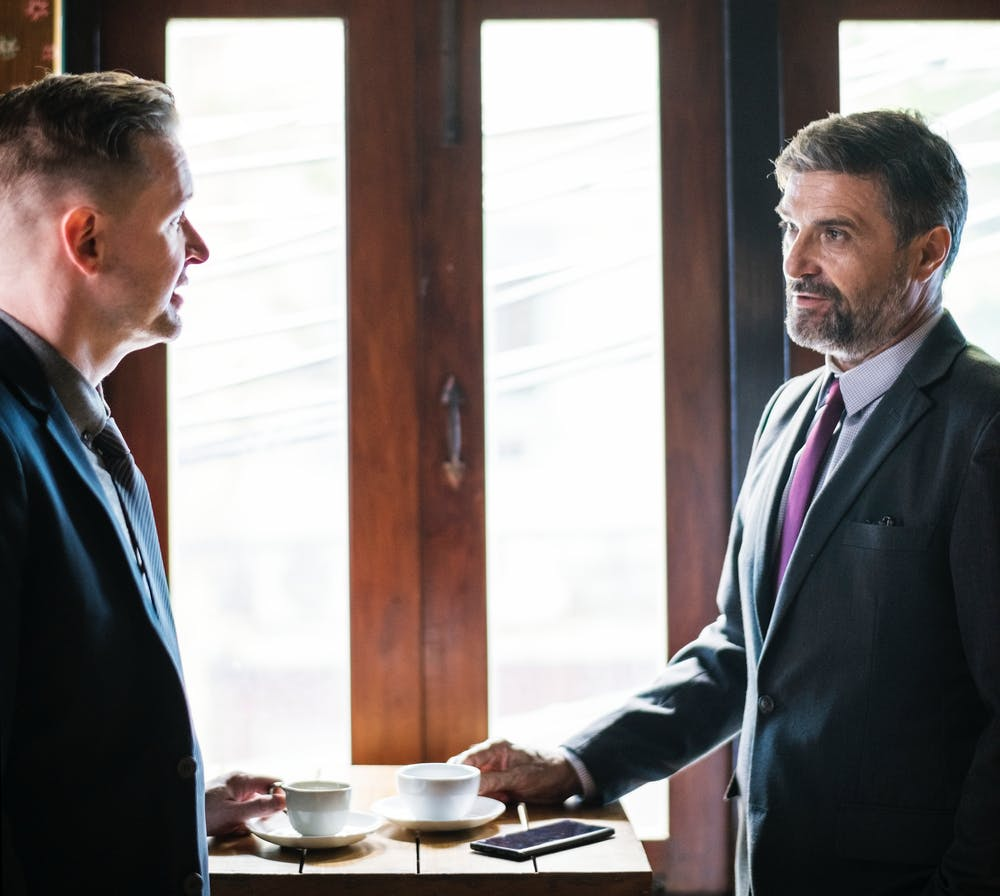 Criminal lawyer in Liverpool talking to a client