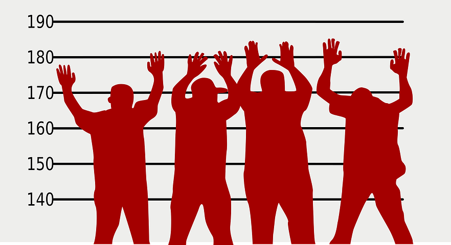 Crime suspects with their hands up