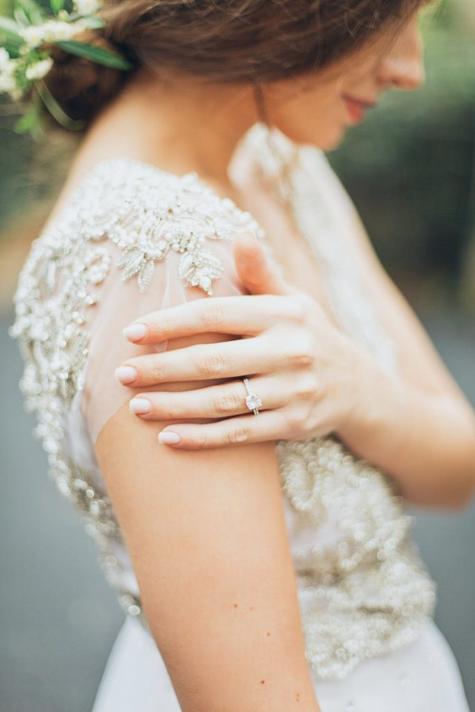 Bride wearing diamond wedding ring in Melbourne